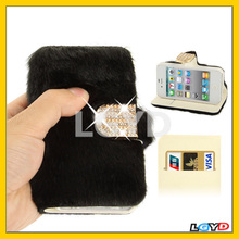 Diamond Encrusted Winter Warm Fur Leather Case with Credit Card Slot & Holder for iPhone 4 & 4S