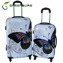 2014 Hot Product Butterfly Print Design ABS/PC Trolley Case Sets