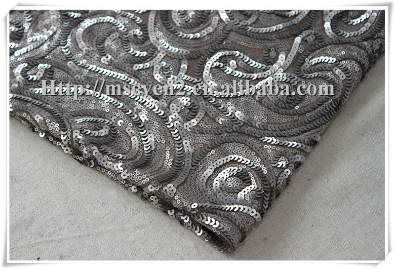 100% polyester sequins large flower pattern mesh fabric for dress, sequin fabric textile