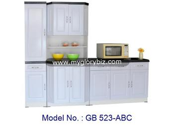 Elegant Style White Kitchen Cabinet Set With Base For Dining Room Home Furniture In MDF And PVC, kitchen cabinet furniture set