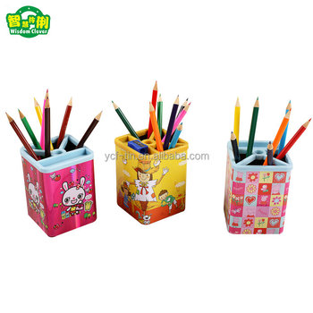 Multi-function Square Tin Pen Holder With Low Price
