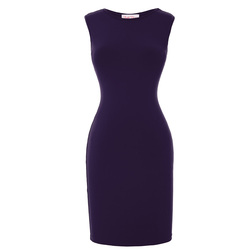 BP Stock Women's Slim Fit Sleeveless High Stretchy Hips-Wrapped Short Dark Purle Pencil Dress BP000153-5