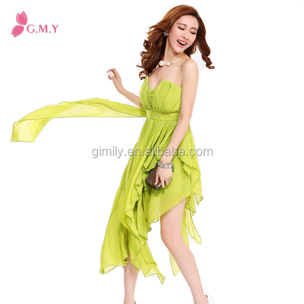 2016 summer chiffon halter neck dress Korean Teesexy green goddess bridesmaid dress
