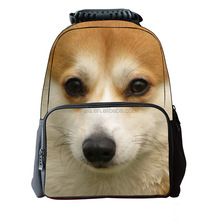 Quality best waterproof laptop backpack custom made China factory pet dog print backpack