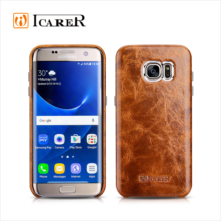 ICARER Oil Wax Genuine Leather Back Cover For Samsung Galaxy S7 Edge