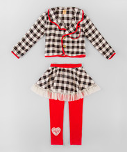 New Autumn Girl Clothing Set With Black And Red Plaid Jacket And Skirted Leggings Kids Clothes Set Child Wear Z-CS80729-15