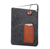 "Wool Felt&Leather Phone Case Sleeve Pouch laptop Bag For Macbook 12"" with Front Pocket for iPhone 6 and Back Pocket for iPad Air"
