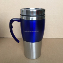 Russian customers OEM TUMLBERS double wall stainless steel auto mug car mug travel mug WITH PLASTIC HANDLE