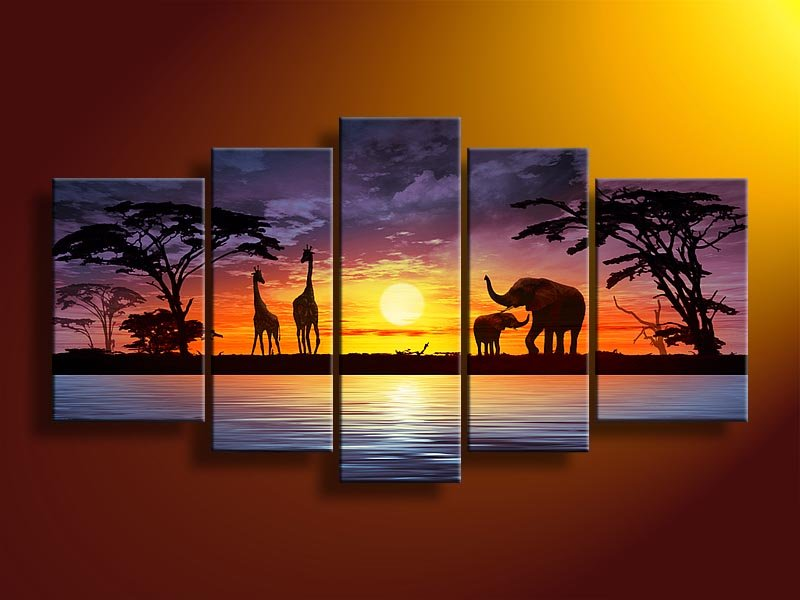 hand-painted wall art African elephants deer Home Decoration Modern Landscape Oil Painting on canvas 5pcs/set mixorde Framed