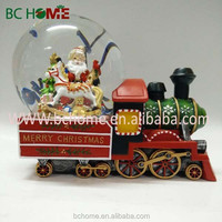 polyresin christmas train snow globes