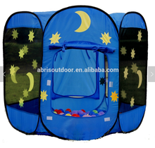 Moon and Star Hexagon Cylinder Pop Up Ball Pit Play Tent Playpen with Storage Bag, Ideal for Toddlers, Indoor and Outdoor
