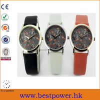Fashion lady leather strap watch with flower print dial