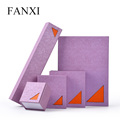 FANXI Friendly Design Purple Color Clamshell Paper Boxes Series OEM Factory Jewelry Handcraft Present Box