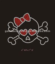 Cute skull with red bow rhinestone transfer design for girl's shirt