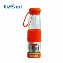 silicone sleeve glass water bottle tea cup with strainer with lid