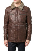 Men Leather shearling Coat with fur collar