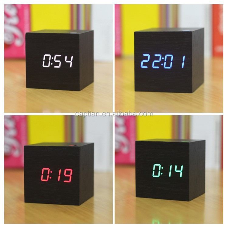 led voice cube table alarm wooden clock humidity speaker