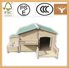 outdoor wooden dog kennel with bowl
