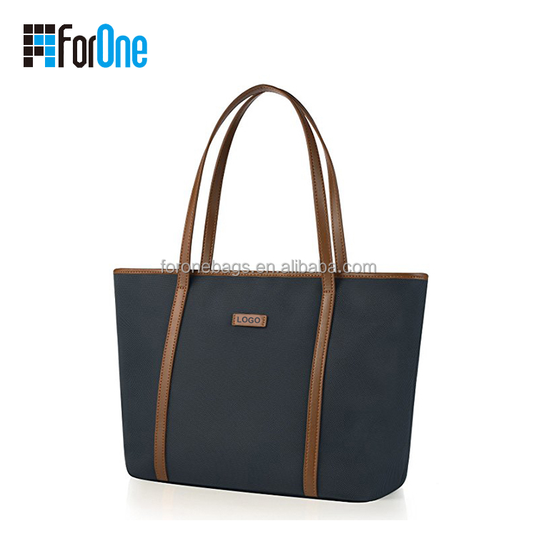 Tote bags with custom logo, PU leather logo embossed patch tote bag, large capacity women daily using bag