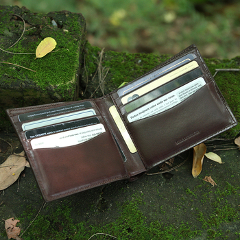 Italian vegetable tanned leather coffee brown classic bifold wallet