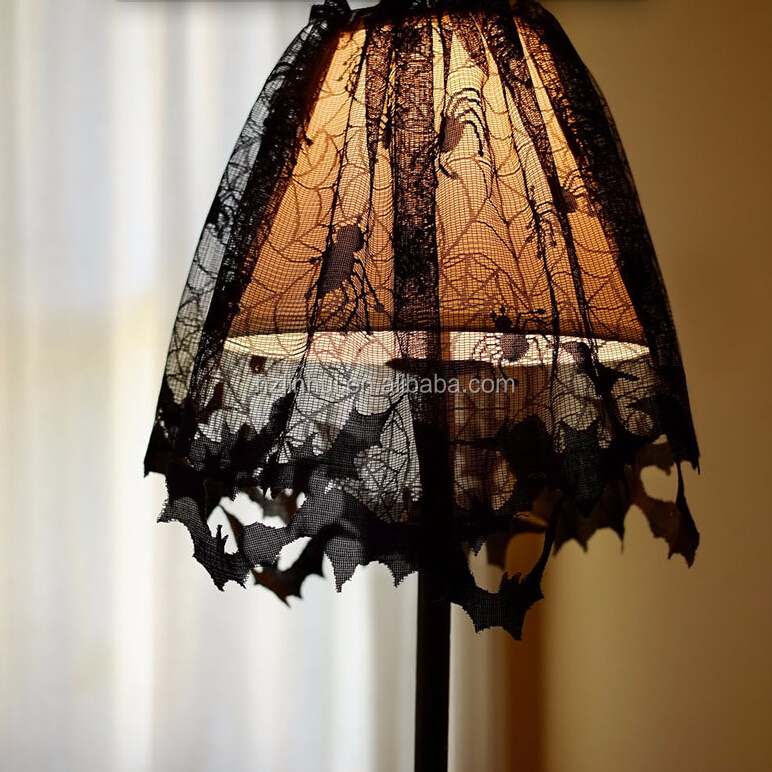Jaquard Black Spider & Web Lamp Shape Halloween Lace Curtain