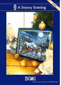 ''A snowy Evening'' dome cross stitch, cross stitch kit, DIY embroidery kit