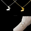 Stainless Steel Dulhan Jewellery Set Butterfly Charm 18K Gold Plated Necklace Bracelet Set