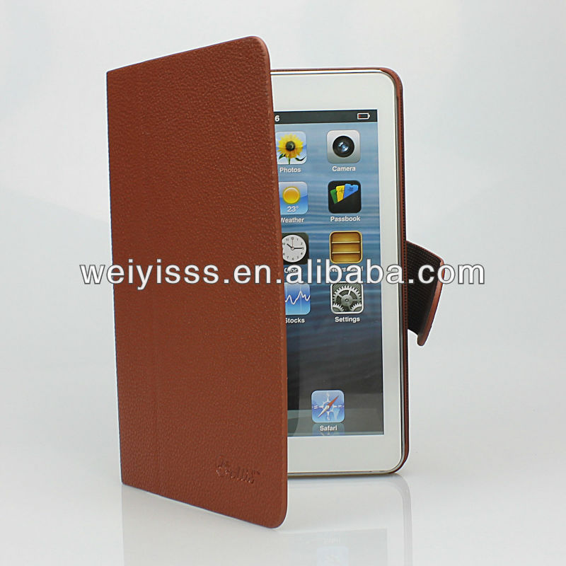 High Quality Brown Leather Stand Case Cover Magnet for iPad Mini