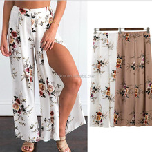 2017 Wholesale Summer Women Dress Pants Wide Leg Trouser Bohemia Long Printing Loose Pants
