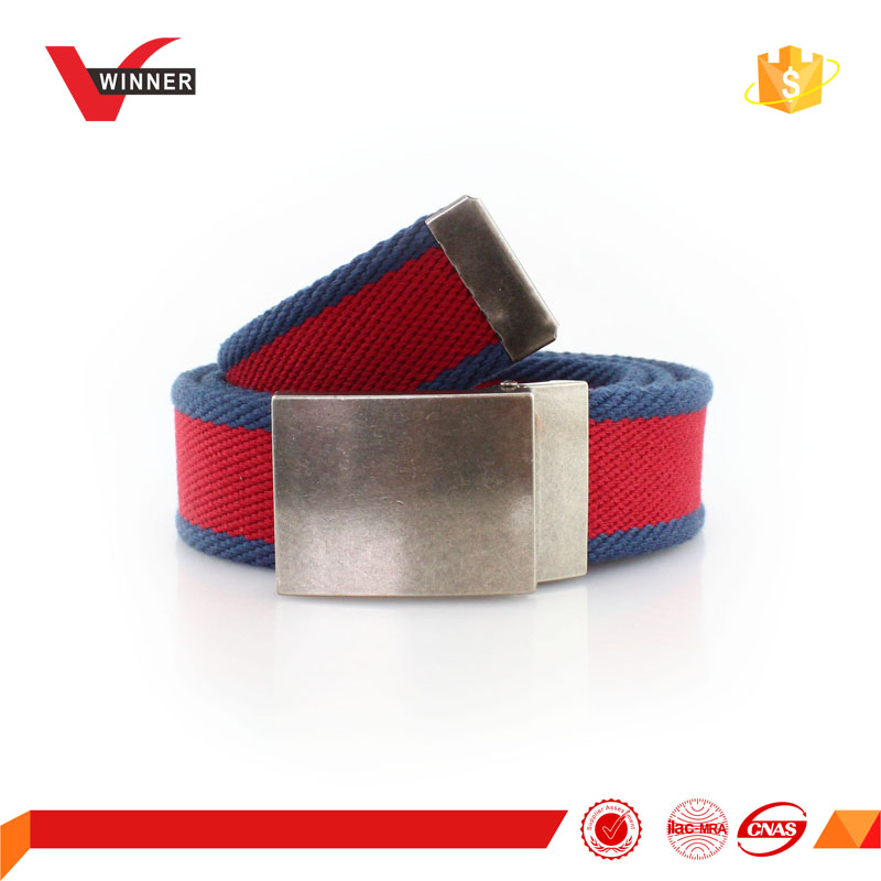 simple style unisex canvas webbing belt with alloy buckle