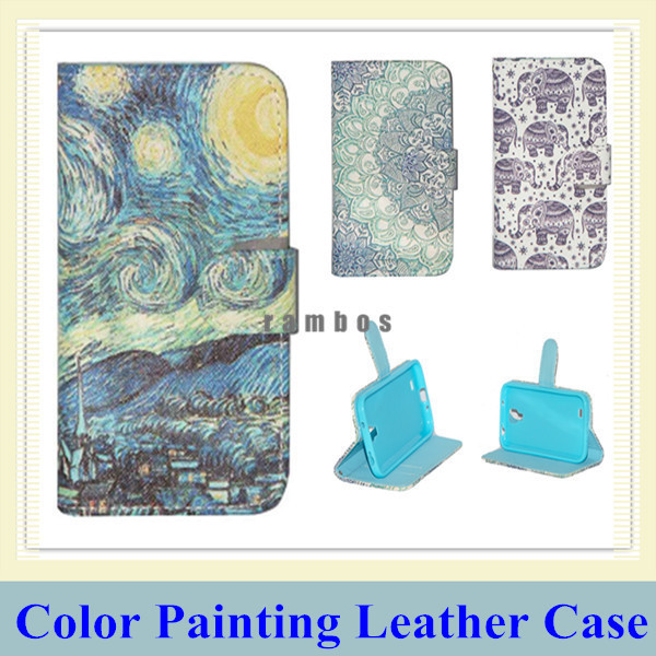 Flip Painted Pattern PU Leather Phone Case Stand Cover Skin Flower Smile Elephant for iPhone 4/4S 5/5S 6 6 Plus