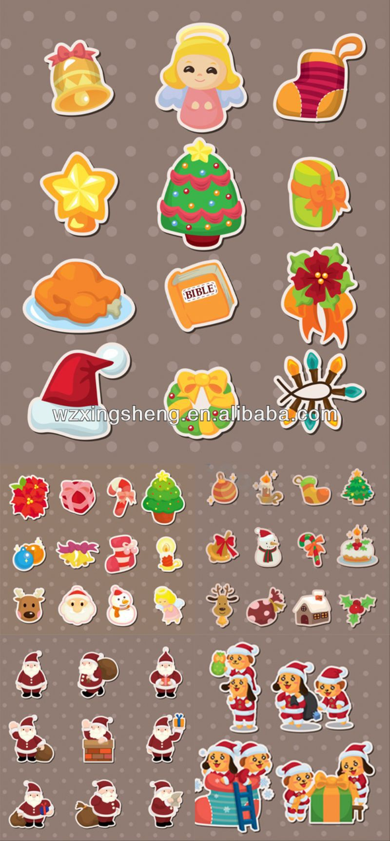 2013 Cartoon fashion promotion pvc sticker christmas sticker sticker watch
