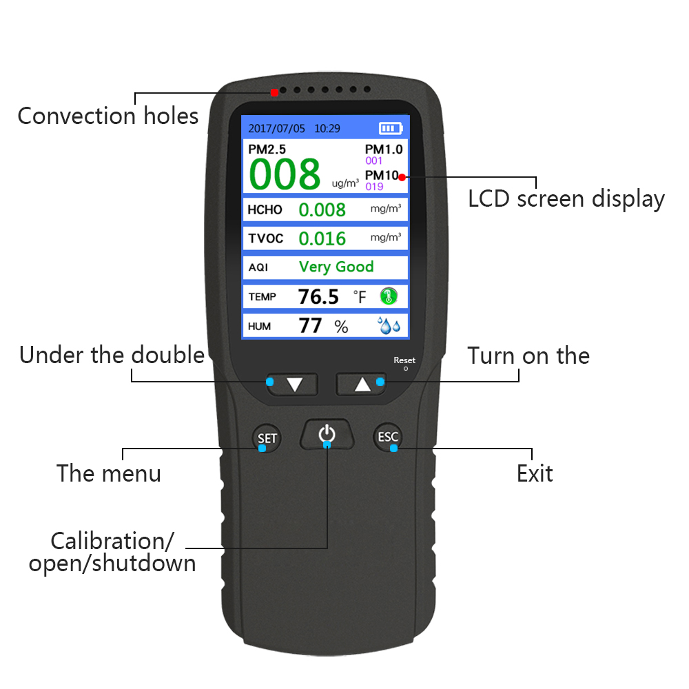 New  Air Quality Monitor Laser PM2.5  PM1.0 PM10 Detector tester Gas TVOC  monitor Gas analyzer/Temperature humidity meter