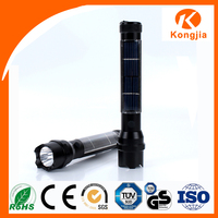 Solar Powered Aluminium High Power Solar Torch Flashlight USB Charger Portable Led Light