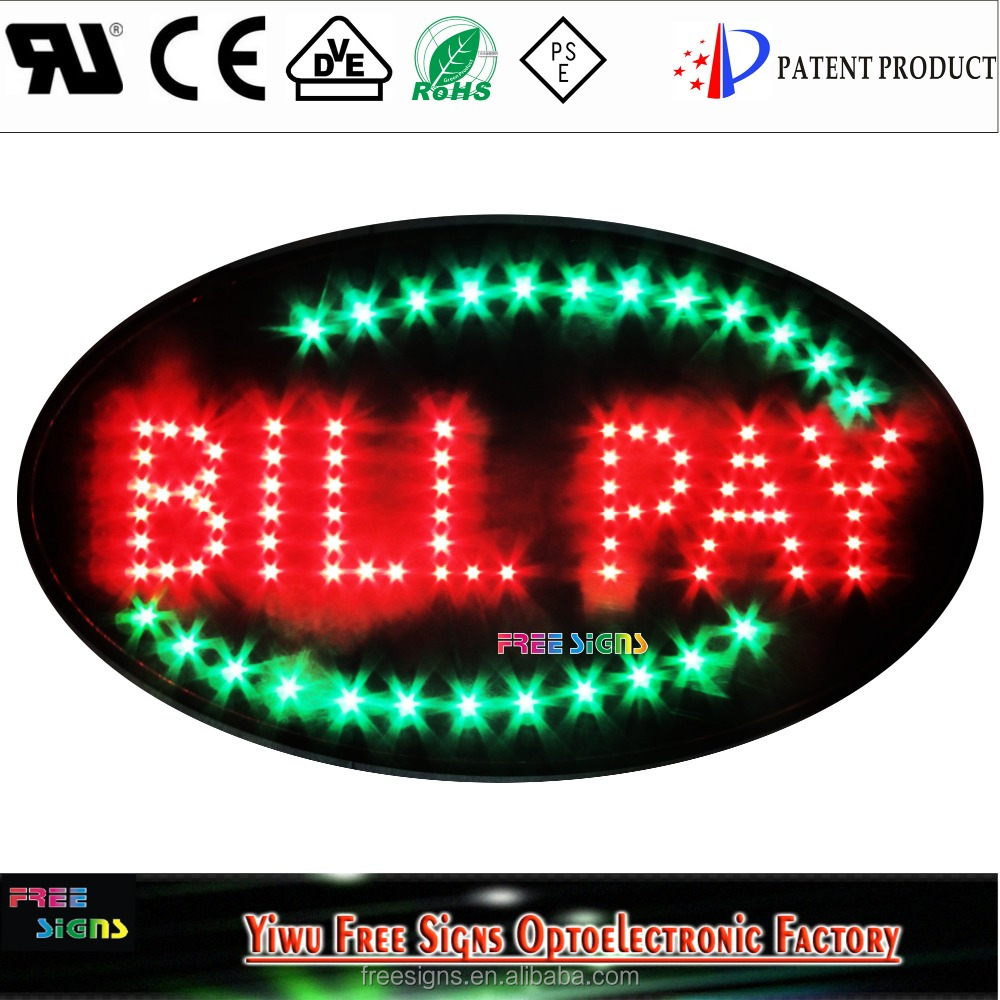 led neon light BILL PAY open sign