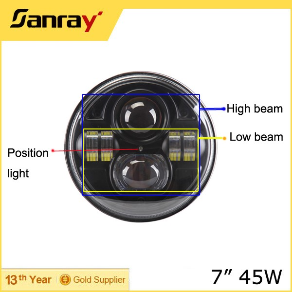 Super bright!!new products! auto parts 4x4 accessories 12v LED driving light 7inch 45w led Headlight