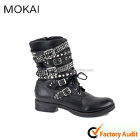 A-37 Black punk style riveted casual boots,wholesale ladies boots 2015