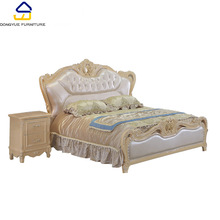 home furniture romantic european style elegant carved double size wood soft bed