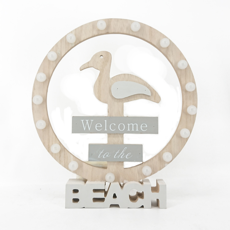 "Nautical Sea Bird ""Welcom to the Beach"" Design Wood Craft Decoration with LED"