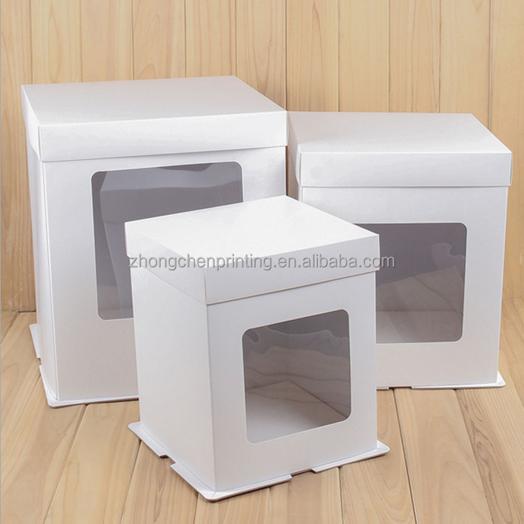 OEM&ODM custom cardboard plain white food packaging paper bakery cake box