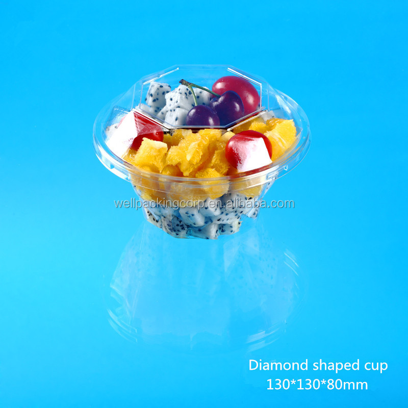 Disposable fruit salad container with Clear lid