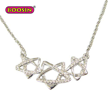 Triple Shining Star With Bright Crystal Hot Sale Pendant Necklace