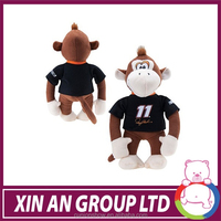 hot sale toy good quality long tail plush monkey with T-shirt