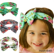 FengRise Children Toddler Infant Print Floral Bow Hairband Turban Knot Rabbit Flower Headband