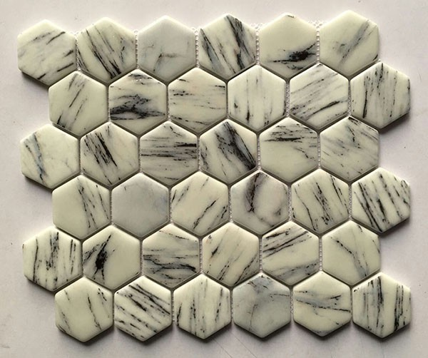white and black color Hexagon recycle glass mosaic tile/ full body glass mosaic