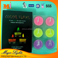 Elegant Color Flame Tea light Candles in Paper Box