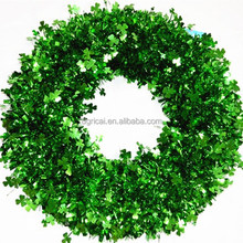 HOT SALE! 18 Inch Metallic PVC Green Christmas Tinsel,Clover Shape Tinsel Garland