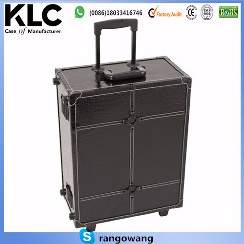 Black Rolling Studio Makeup Artist PVC Cosmetic 15x8x19' Case w/ Light Mirror Portable Train Table