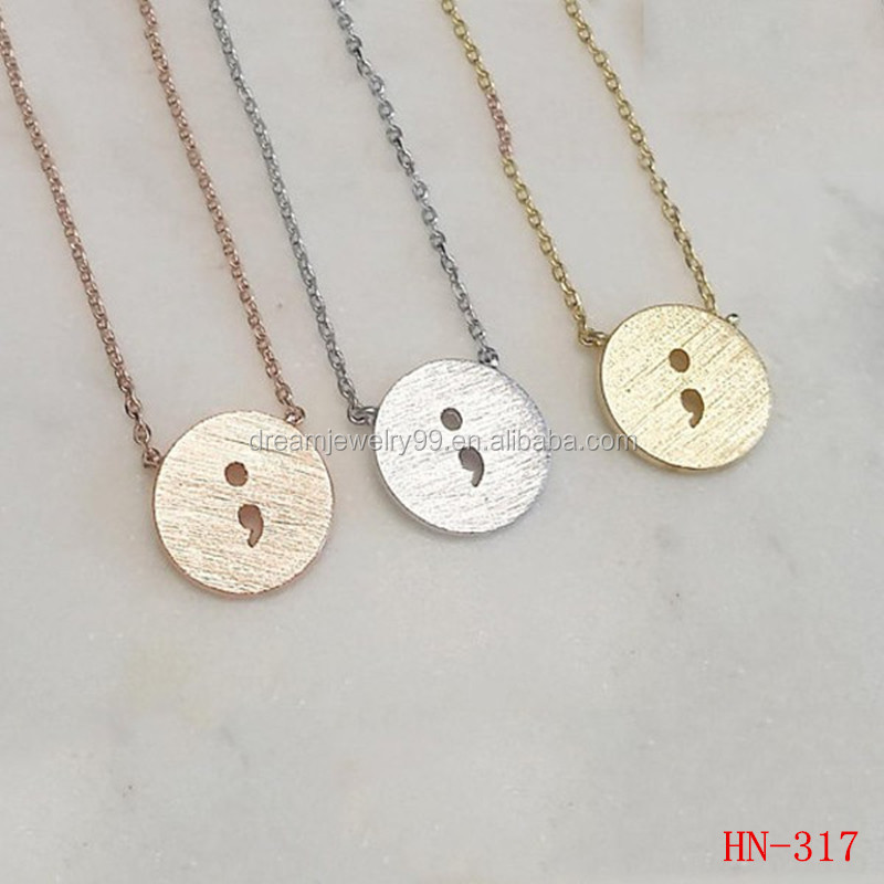 Popular European hot selling jewelry engraved with the charm of the circle of punctuation marks