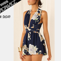 Navy Floral Crossover Adult Summer Rompers Pattern